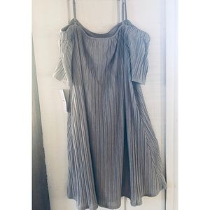 Gray Off Shoulder Dress Soft and Flowy